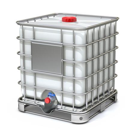 White plastic water storage tank