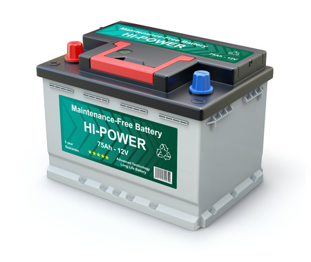 Car battery with abstract label