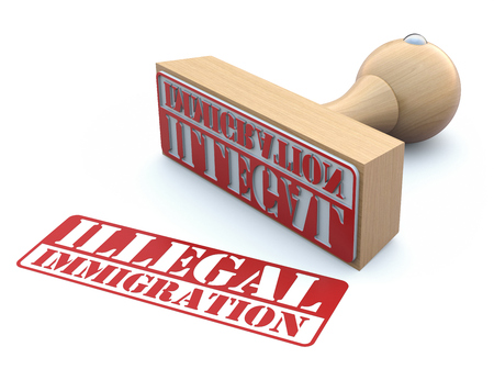 illegal immigrant: Rubber stamp-ILLEGAL IMMIGRATION