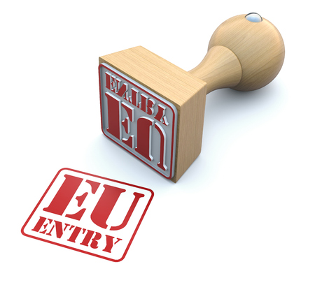 immigrant: Rubber stamp-EU ENTRY Stock Photo