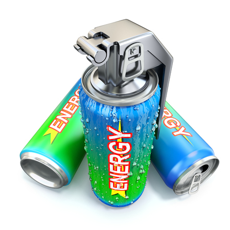 drink can: Energy drink concept with energy drink can and hand grenade Stock Photo