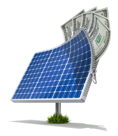 solar equipment: Solar energy saving concept