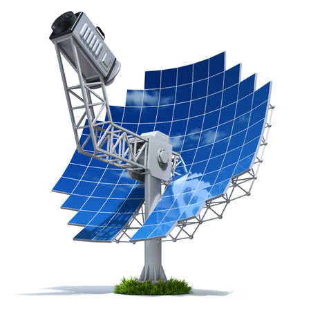 parabolic mirror: Solar stirling engine with parabolic mirror - 3D illustration