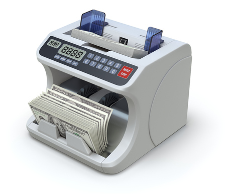 checkout counter: Electronic money counter with dollar banknotes - 3D illustration on white background