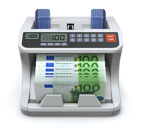 paying bills: Electronic money counter with 100 Euros banknotes - 3D illustration Stock Photo