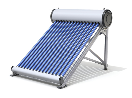 solar equipment: Evacuated tube solar water heater on white background - 3D illustration