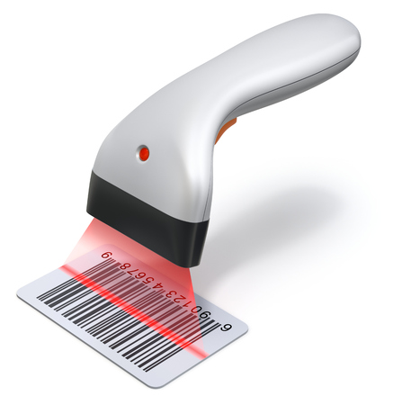 reader: Bar code scanner reader on white background - 3D illustration Stock Photo