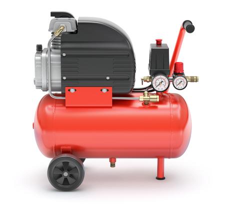 compresor: Compresor de aire portátil rojo sobre fondo blanco - ilustración 3D Foto de archivo