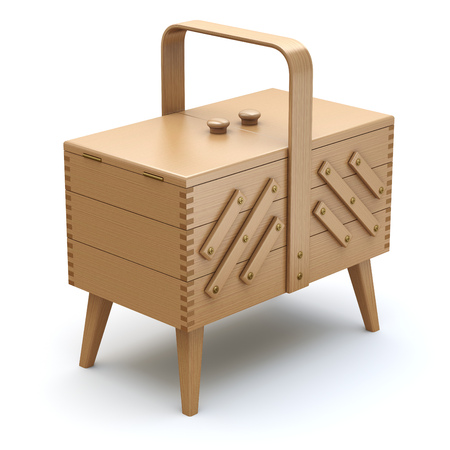 sewing box: Wooden expandable sewing box with the legs