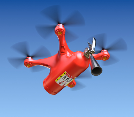 firefighting: Fire fighting drone with fire extinguisher Stock Photo