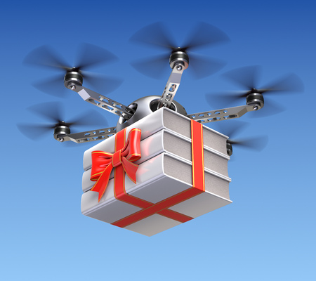 gift wrapped: Drone with gift wrapped books Stock Photo