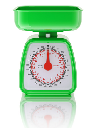 kitchen studio: Green kitchen scale Stock Photo