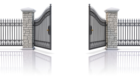 iron fence: Open iron gate