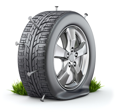 tyre: Flat tire Stock Photo
