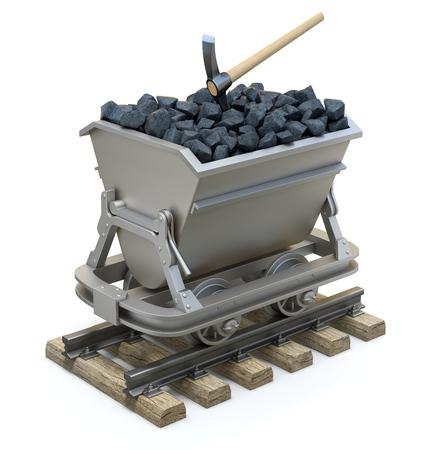 Carbón en el carrito de la minería