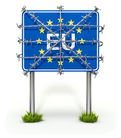 wires: Border sign of European union with barbed wire Stock Photo