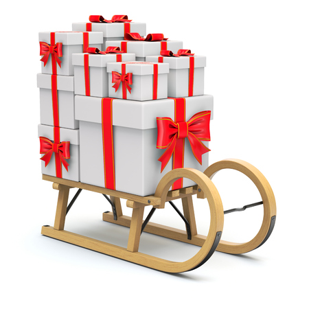 sled: Wooden sled with the gifts