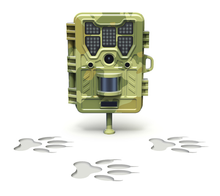 footmark: Hunting trail camera over animal footprint on white background