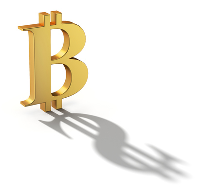 cash: Bitcoin with a shadow shaped as a dollar currency sign