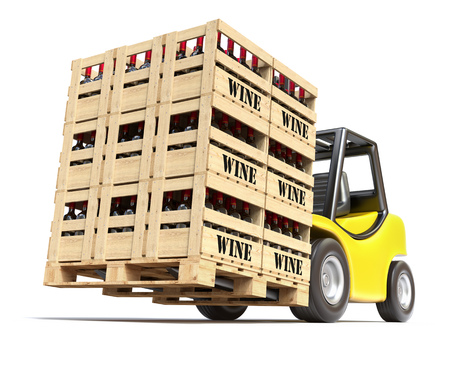 Forklift with wine bottles in wooden crates