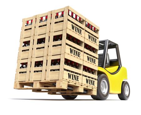 vinho: Empilhadeira com garrafas de vinho em caixas de madeira