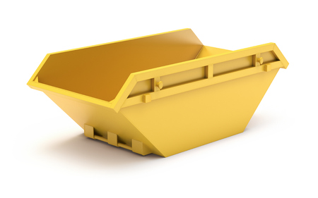 Yellow waste skip Stockfoto