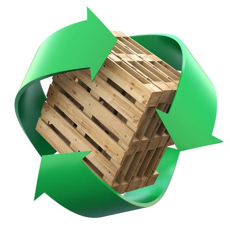 reciclar: Las paletas de madera con el símbolo de reciclaje