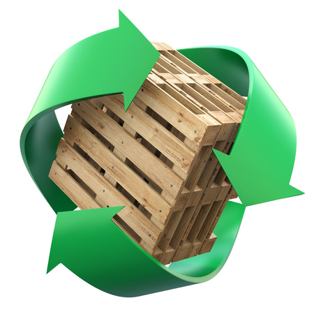 waste heap: Wooden pallets with recycling symbol