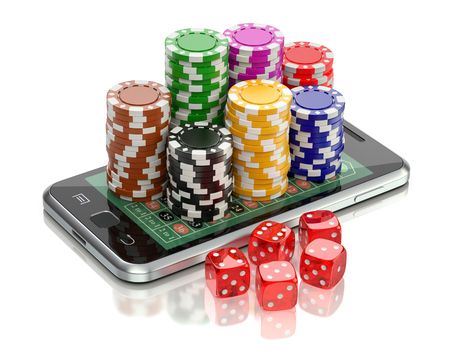 roulette online: Online gambling concept with dice and roulette chips on the mobile