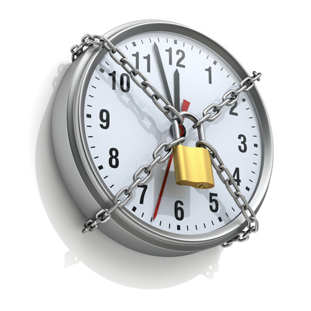 Wall clock with chain and padlock