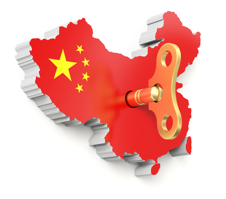 inducement: Chinese economic momentum concept with clockwork key and chinese map