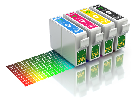 CMYK インク ジェット ・ プリンターのカートリッジのセット 写真素材