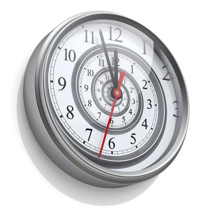 Infini spirale de temps dans l'horloge murale Banque d'images - 52702848