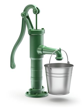seau d eau: Pompe à eau avec le seau Banque d'images