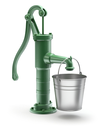 iron and steel: Water pump with the bucket