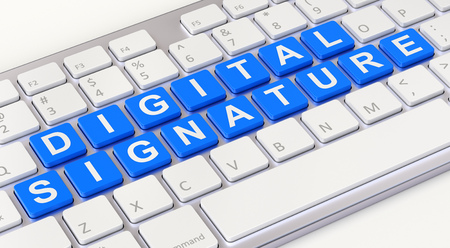 technology agreement: Digital signature concept with computer keyboard