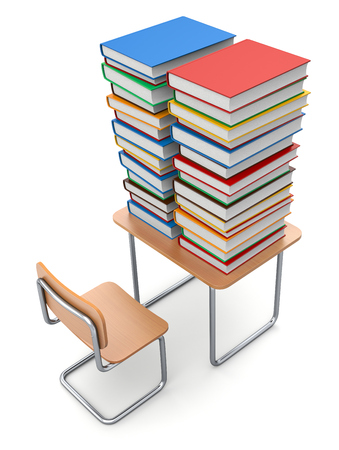 chair wooden: School desk with books