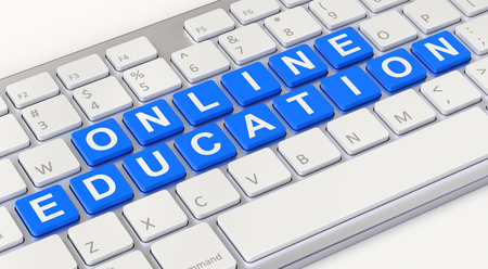 computer education: Online education concept with computer keyboard