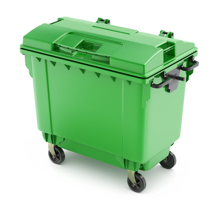 plastic recycling: Green garbage container