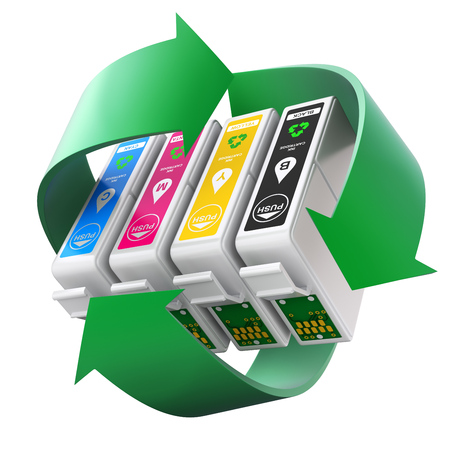 reciclable: CMYK conjunto de cartuchos con el símbolo de reciclaje Foto de archivo