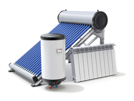 Die Elemente der Solaranlage mit evakuierten Solarwarmwasserbereiter, Kessel und Heizkörper - 3D-Darstellung Standard-Bild