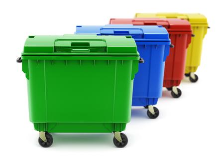 separacion de basura: contenedores de basura verdes, azules, rojas y amarillas