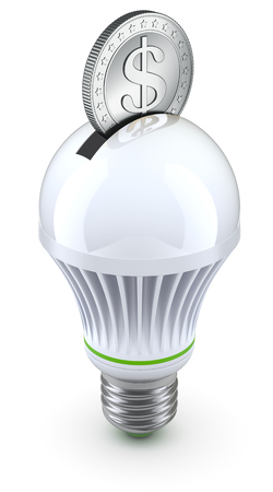 green bulb: Concept for energy saving with led bulb and coin
