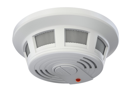 Smoke detector isolated on white background Stock Photo