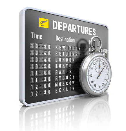 stop watch: Departure board with stop watch