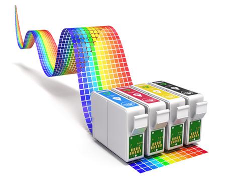 toner: Printing concept with CMYK set of cartridges for ink jet printer