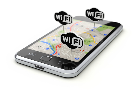 Free wifi zone concept with wifi boards and mobile with abstract city map Stock Photo