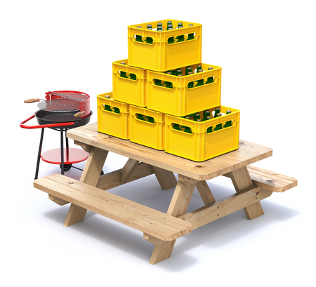 crates: Ready for picnic concept with wooden bench, beer crates and barbecue Stock Photo