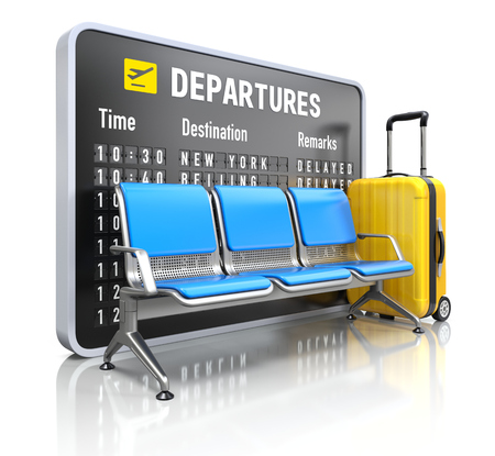 the delayed: Departure board with airport seating