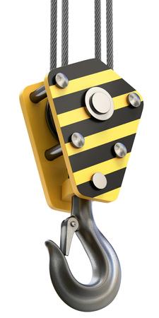 pulley: Crane hook isolated on white background Stock Photo